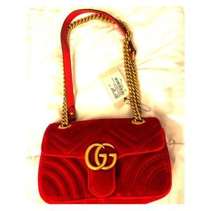 NWT Red Velvet Small Gucci Marmont bag